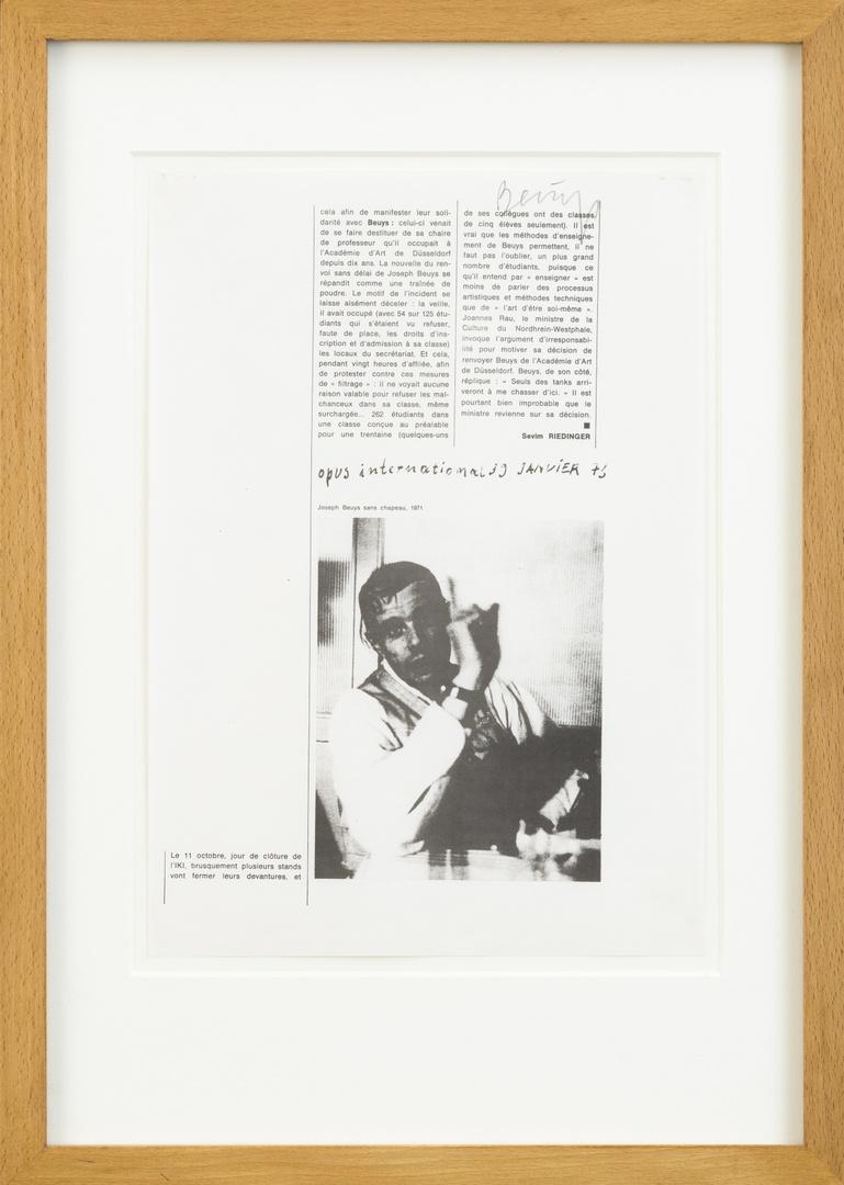 Tijdschriftartikel (kopie): Riedinger, Sevim, zonder titel. Opus International, no 39, jan 1973, 1 blz, afbn