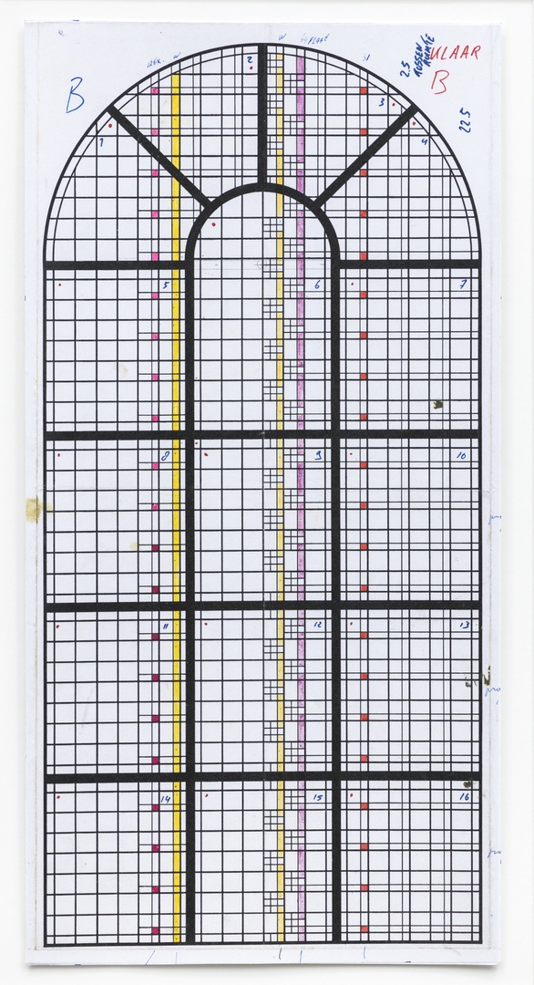 Definitief ontwerp voor een glas in lood raam voor de Sint Gertrudiskerk te Wijlre ; schip noordzijde