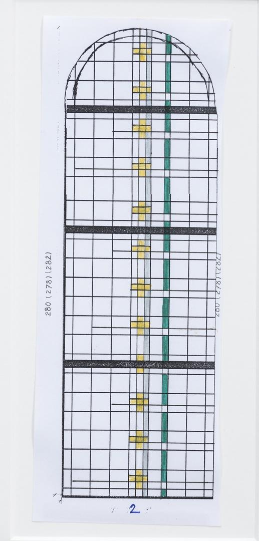 Definitief ontwerp voor een glas in lood raam voor de Sint Gertrudiskerk te Wijlre ; Absis