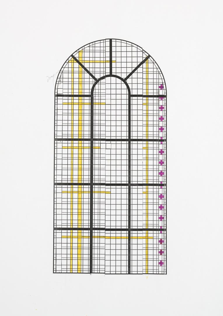 Schetsontwerp voor definitief ontwerp voor glas in lood raam van de Sint Gertrudiskerk te Wijlre; schip (raam a)