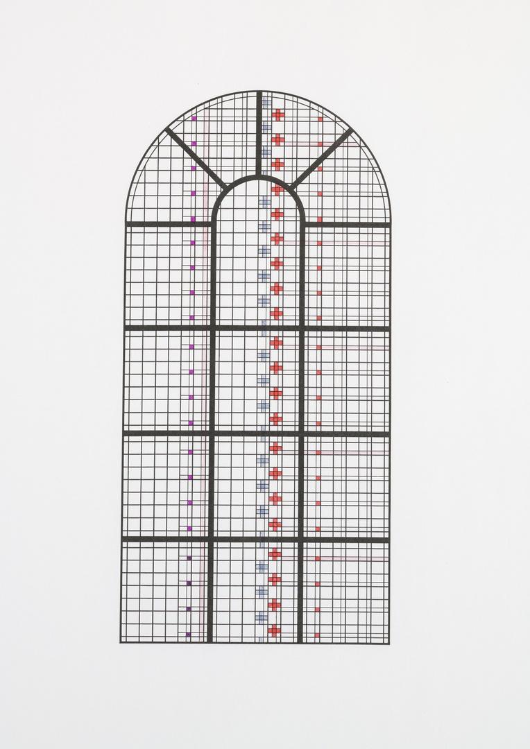 Schetsontwerp voor definitief ontwerp voor een glas in lood raam van de Sint Getrudiskerk te Wijlre; schip (raam b)