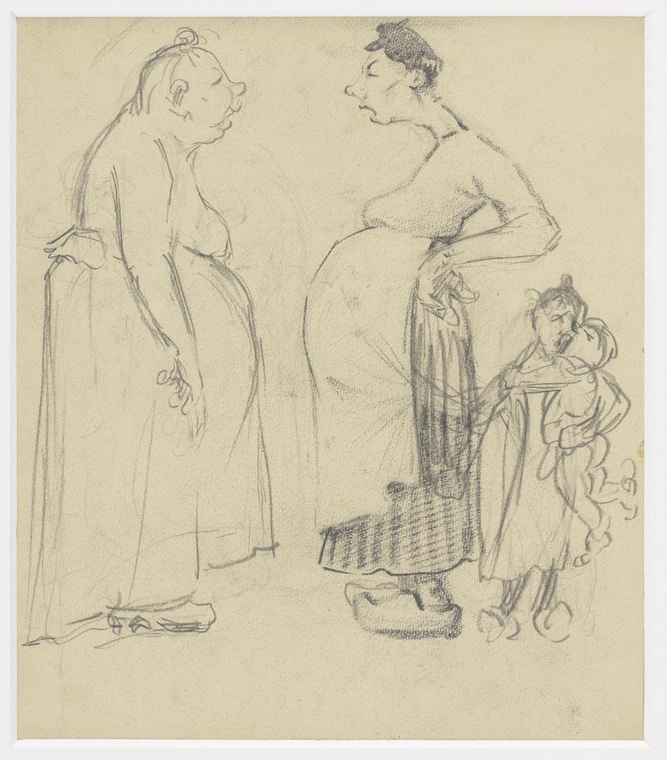 Twee kijvende vrouwen verso: studie vrouw met kinderen