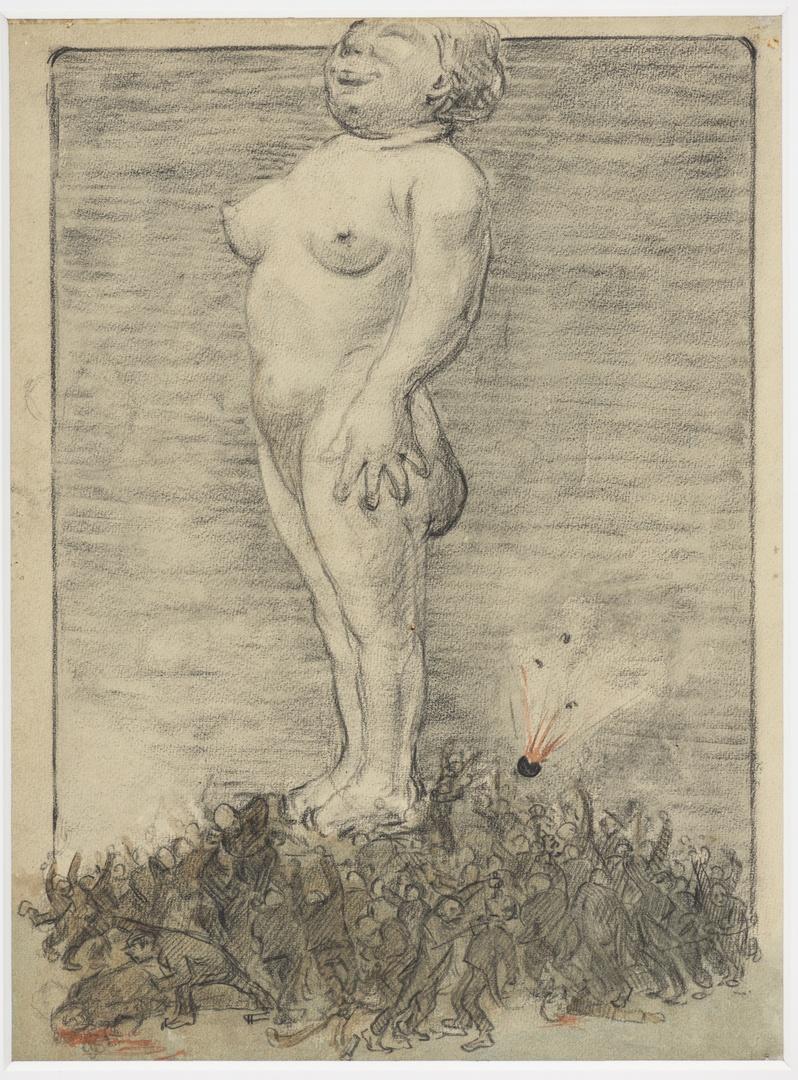 Naakte vrouw verheven boven strijdtoneel ; verso: portret van een naar links kijkende man