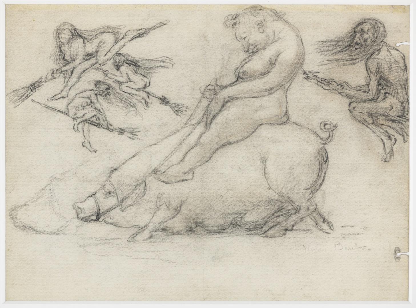 Figuur op zeug en figuren op bezemstelen, verso: studie vrouw en kinderen.