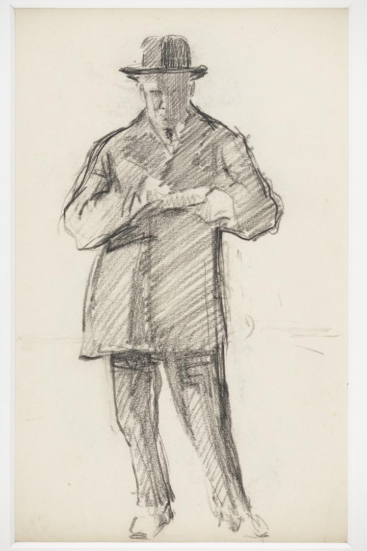 Twee portretkoppen ; verso: naar voren staande man in kostuum
