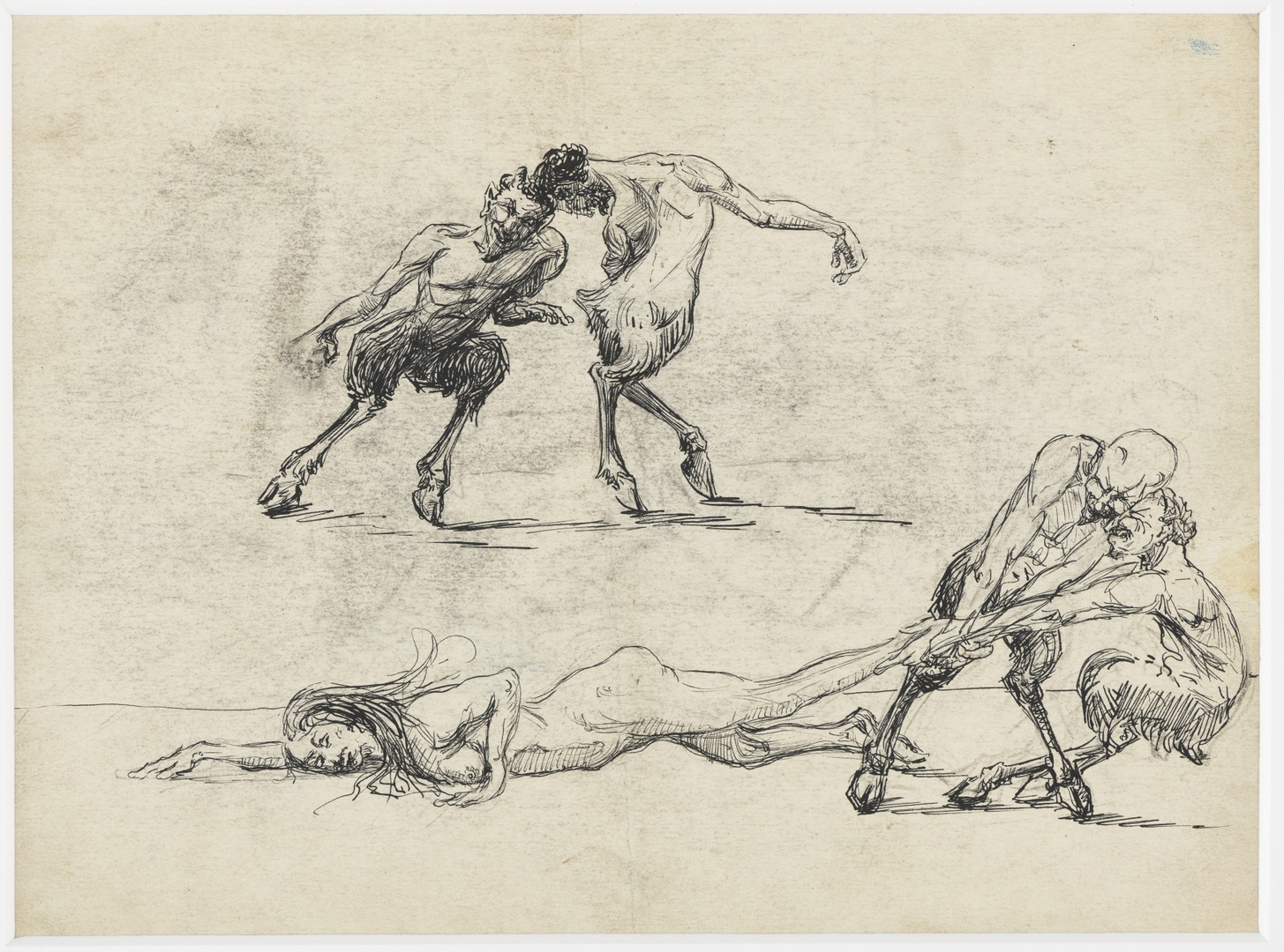 Saters ; verso: figuurstudie van een zittende naakte vrouw en sater