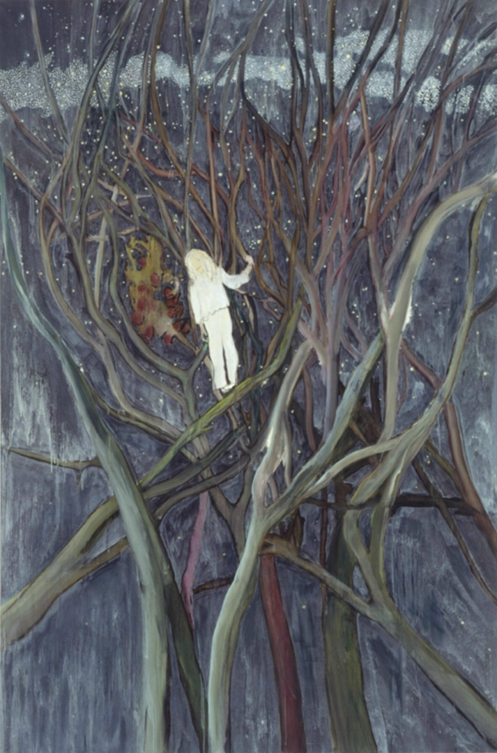 Girl in White with Trees