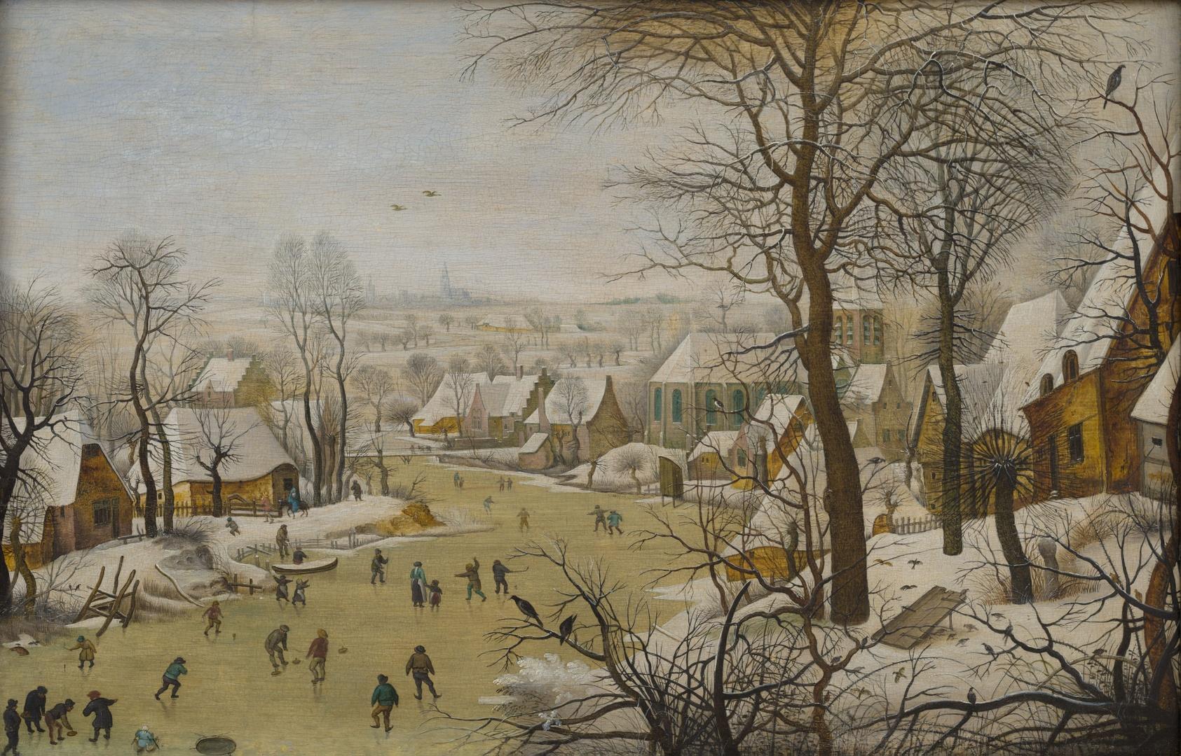 Winterlandschap met vogelval
