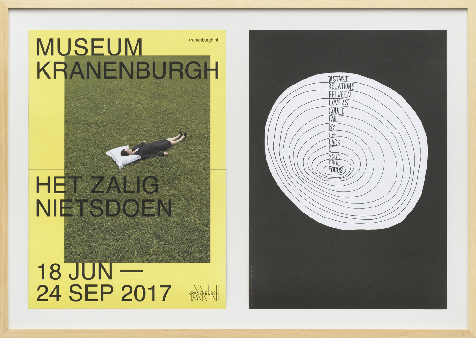 'Untitled' (Distant relations between lovers could fail by the lack of your true focus) : tentoonstellingsposter Het zalig nietsdoen, Museum Kranenburgh, 18 juni - 24 september 2017