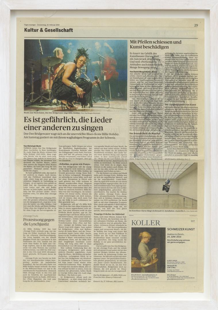 Where you end and I begin: ''Mit Pfeilen schiessen und Kunst beschädigen.' Uit: Kultur und Gesellschaft Tages Anzeige. Op 25-02-2010.