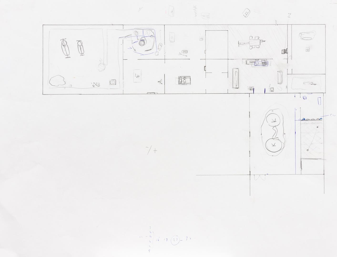 Plattegrond inrichting tentoonstelling Mark Manders