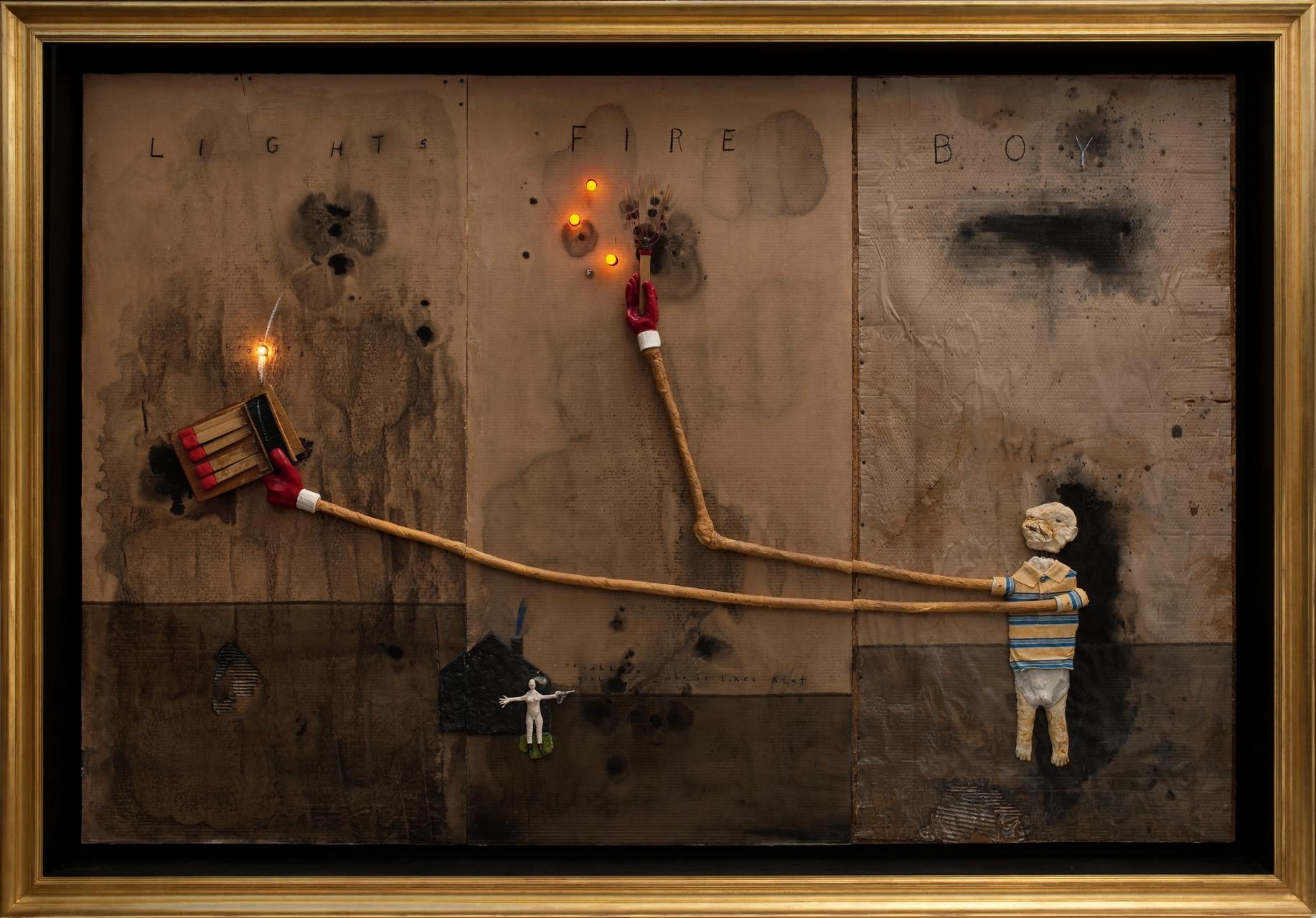 David Lynch, Boy Lights Fire, 2010, mixed media on cardboard, courtesy the artist. Collection Bonnefantenmuseum